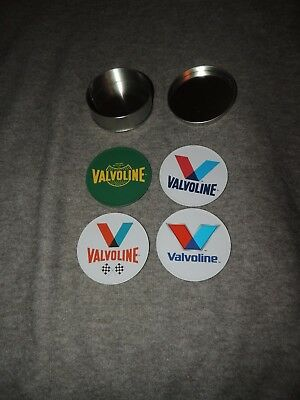 NEW--VALVOLINE 150th Anniversary Metal Tin 4 Coasters Cork 1866 OIL Advertising