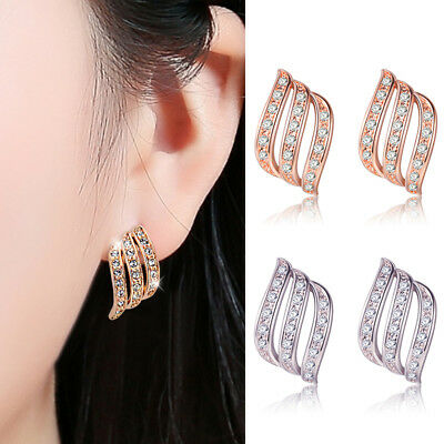 Hot Silver Rose Gold Angel Wings White Sapphire Studded Personality Stud Earring