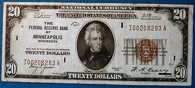 1929 $20 Federal Reserve Bank Note ~ Brown Seal ~ Bank of Minneapolis F-1870i #3