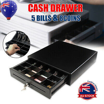 2xRJ11 5 Bills 8 Coin Solid Metal Electronic Cash Drawer/Register POS Heavy Duty