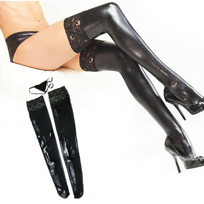 Sexy Women Shiny Wetlook Leather Metallic Footless Thigh-High Stocking Leg Wraps