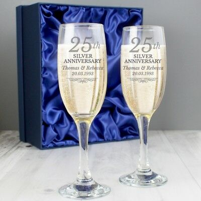 Personalised 25th Silver Anniversary Pair of Champagne Glass Flutes In Gift Box