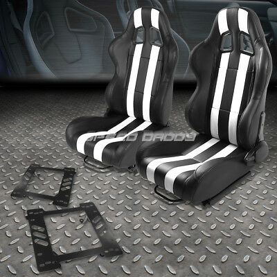 Black/white Pvc Dual Vertical Stripe Racing Seat+Bracket For 97-06 Jeep Wrangler