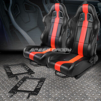 Black/red Pvc Thick Vertical Stripe Racing Seat+Bracket For 79-98 Ford Mustang