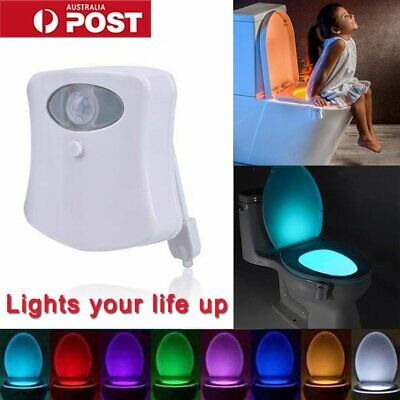 8 Colors LED Toilet Bathroom Night Light Motion Activated Seat Sensor Body Lamp