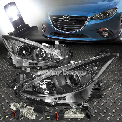 Black Housing Clear Corner Projector Headlight+6000K Led Bulbs For 14-16 Mazda 3