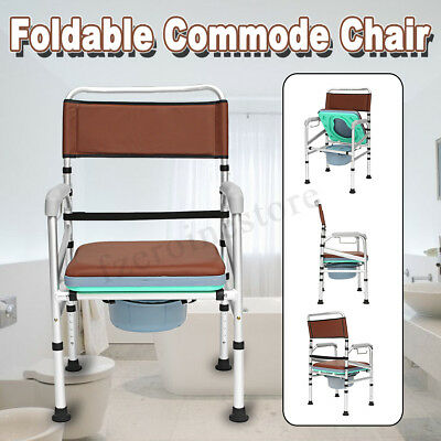 Adult Potty Folding Commode Chair Bedside Bathroom Toilet Chair Aluminum