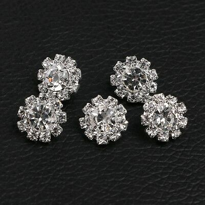 5Pcs 12mm Round Rhinestone Shank Button Sewing DIY Craft Embellishment Sewing