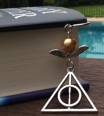 HP Harry Potter Inspired Golden Snitch Deathly Hallows Hogwarts Charm Bookmark