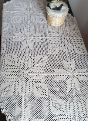 Crochet lace tablecloth, Linen handmade tablecloth, Table rectangular cover