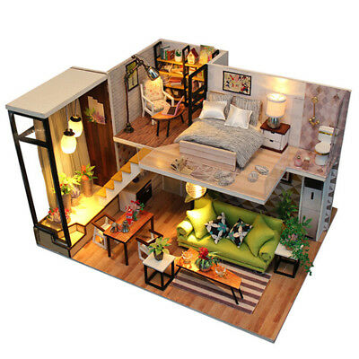 DIY Loft Apartments Dollhouse Wooden Furniture LED Kit Christmas Birthday GiftNT