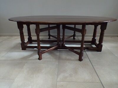 Large 8ft Solid Oak Antique Style Double Gateleg Wake Dining Table 10/12 Seater
