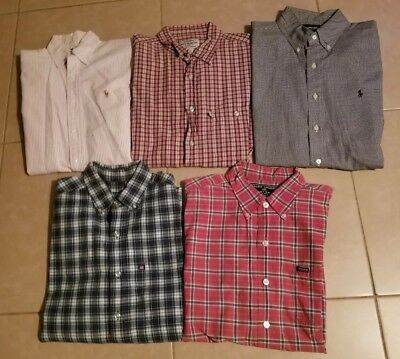 Lot of 5 Ralph Lauren Men's Casual Button Down Shirts Short Sleeve in size M/L