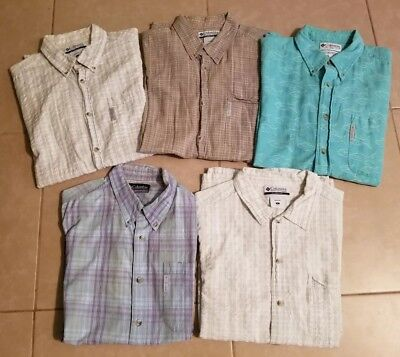 Lot of 5 Columbia Men's Casual Button Down Shirts Short Sleeve in size L