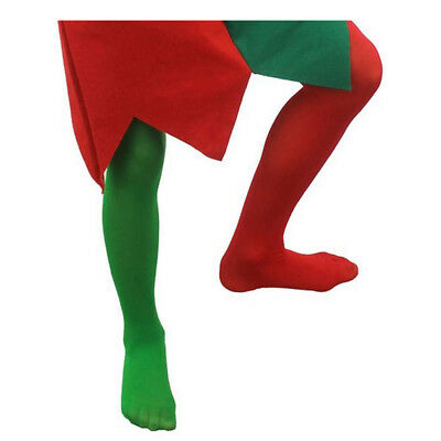 Childs Elf Tights Boys Girls Christmas Costume Accessory Green Red Panto Jester