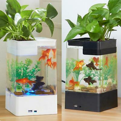 Mini Self-Cleaning Desktop Fish Tank Aquarium LED Colorful Lighting Starter Kit