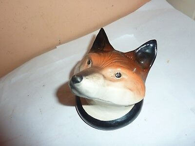 1960's Lancaster,hanley  Pottery 10Cm High Red Fox Head Stirrup Cup/drinking Cup