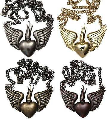 Winged Sacred Heart Rockabilly Chain Necklace Gun Metal Bronze Copper Gold Tone
