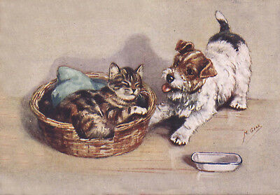 Sealyham Puppy Dog & Kitten by Mabel Tear 1940's 8  LARGE New Blank Note Cards