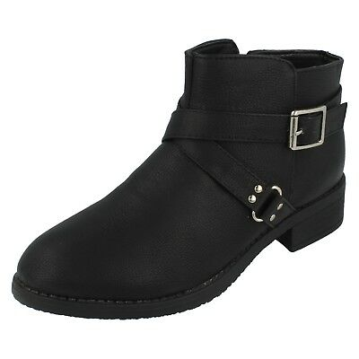 Girls Spot On Black Zip Up Block Heel Winter Ankle Boots H5R034