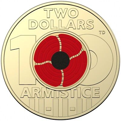 2018 Remembrance Day Armistice Centenary $2 Coloured Coin Unc From Mint Bag