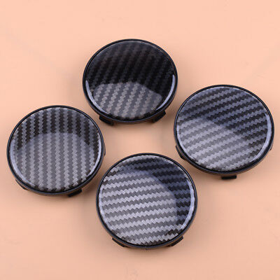 4x Auto 68mm Carbon Fiber Style ABS Car Wheel Rim Center Hub Caps Cover No Logo