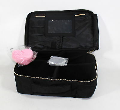 afe5bdb414ec HABE TRAVEL MAKEUP Bag with Mirror -(Bonus Make-Up Brush Cleaner ...