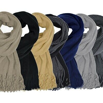 Mens Navy Luxury Classic Knitted Tasseled Plain Design Woolen Winter Boys Scarf