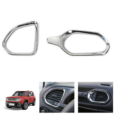 Chrome Car Inner Dashboard Vents Air Outlet Frame Trim for Jeep Renegade 2015-18