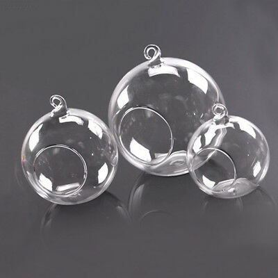 4087 72C4 Style HANGING GLASS BAUBLE SPHERE BALL CANDLE TEA LIGHT HOLDER VASE.