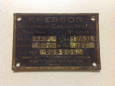 Vintage Antique Original Emerson Electric Fan Motor ID Tag Plate Type 35661
