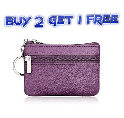 New Men Women Ladies Genuine Leather Small Coin Card Key Ring Wallet Pouch*clrCn