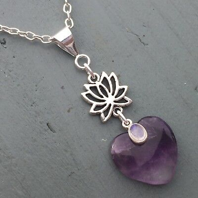 Amethyst Heart & Rainbow Moonstone Lotus Flower Pendant Chakra Reiki THIRD EYE