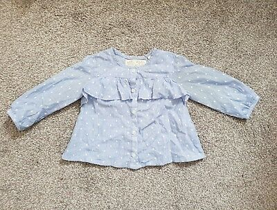 Zara Baby Girl Polka Dot and Fine Lined Blouse Shirt 6-9 Months