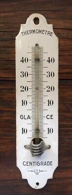 Antique Vintage French Cast Iron & White Enamel Centigrade Thermometer