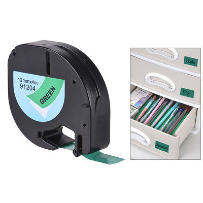 Black on Green Plastic Label Tape 12mmx4m for DYMO LT-100H Letra Tag Refill S9M8