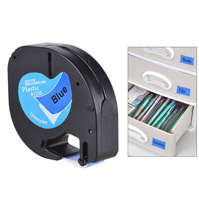 Black on Blue Plastic Label Tape 12mmx4m for DYMO LT-100H Letra Tag Refill G3L4