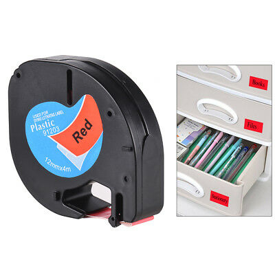 Black on Red Plastic Label Tape 12mmx4m for DYMO LT-100H Letra Tag Refill D9F5