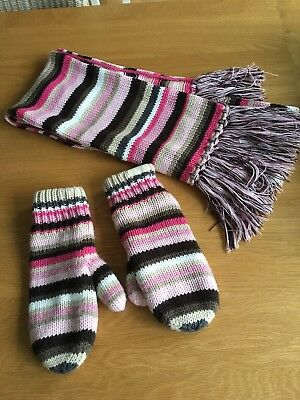 New Barts Striped Winter Scarf & Matching Mittens