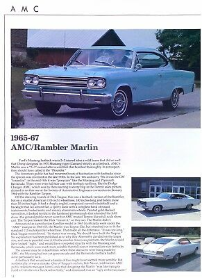 1965 1966 1967 AMC Rambler Marlin 232 287 327 ci Info/Specs/photo 12x9 2 pages