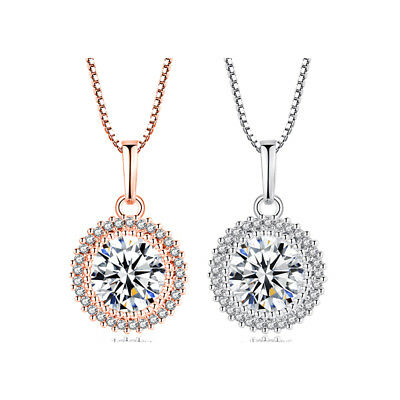 Women White/Rose Gold Filled Round Full Crystal CZ Pendants Long Necklaces