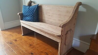 Antique Wooden Church Pew/Bench - Small- Rare-Entrance, Foot Of Bed, Decor