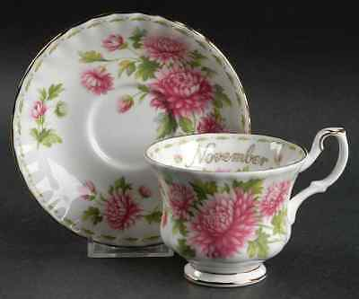 Royal Albert FLOWER OF THE MONTH (MONTROSE) November Cup & Saucer 6439949