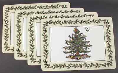 Spode CHRISTMAS TREE (GREEN TRIM) Set of 4 Corkboard Placemats 5436891