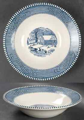 Royal (USA) CURRIER & IVES BLUE School House Winter Rimmed Cereal Bowl 5979119