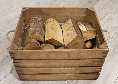 LOG BASKET / FIRE WOOD STORE / FIREPLACE KINDLING BOX  Old Wooden Apple Crate..