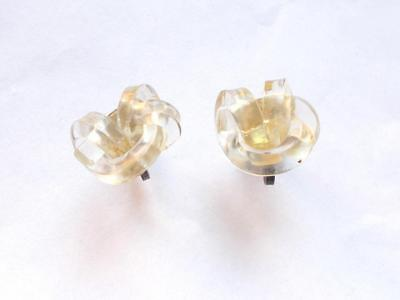 Vintage 1940's Clear Lucite Scrolled Knot Screw Fastening Earrings
