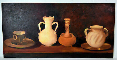 "30"" Oil Painting 1960s Lucille Bodiford Still Life Brown Shades Vases and Cup"