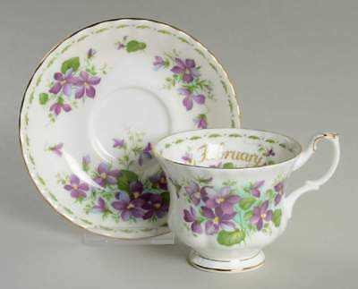 Royal Albert FLOWER OF THE MONTH (MONTROSE) February Cup & Saucer 6439920