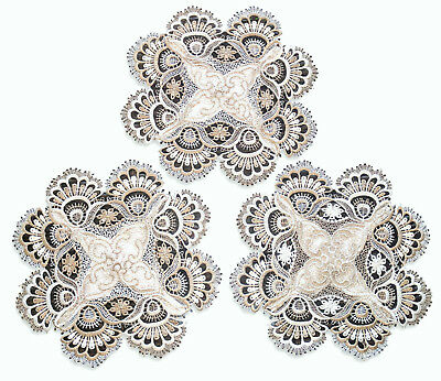 """Lace Doilies 11"""" Taupe Antique White Neutral SET OF  3"""